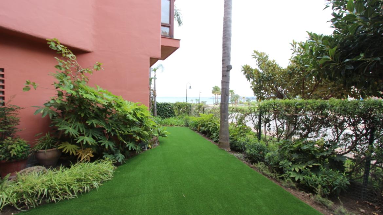 Artificial grass at Menara beach