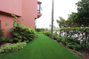 Artificial grass at Menara beach
